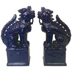 Contemporary Pair Of Chinese Ceramic Glaze Cobalt Foo Dog Sculptures
