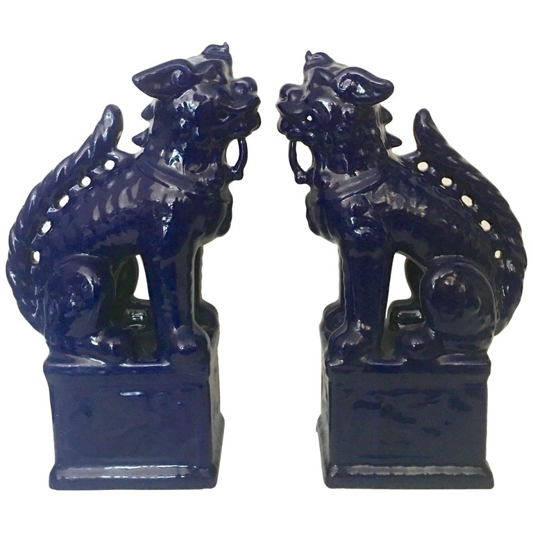 Contemporary Pair Of Chinese Ceramic Glaze Cobalt Foo Dog Sculptures For Sale