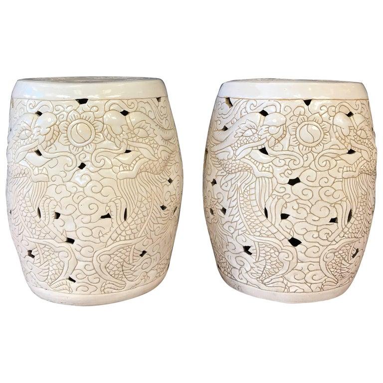Pair of Vintage Chinese Dragon Motif White Ceramic Garden Stools