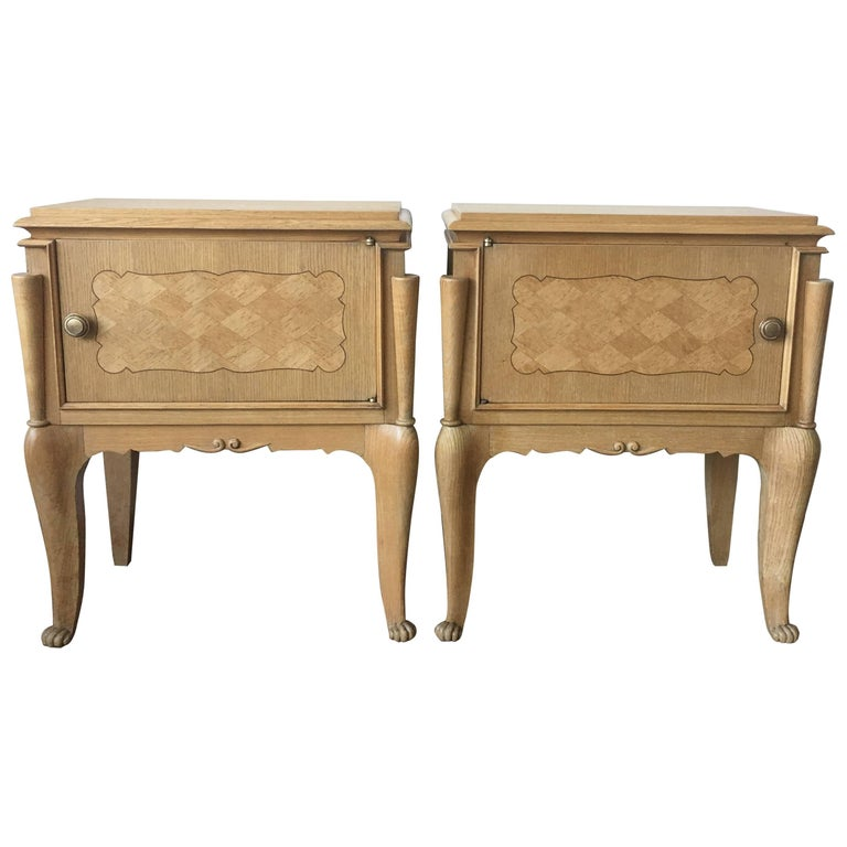 Pair of Nightstands or Side Tables with One Door and Inlay, Bed Side