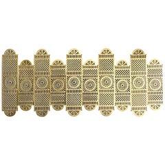 Large Set of 19th Century Pierced Brass Door Finger Plates