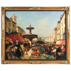 Dagnaux Albert Oil on Canvas Place de l'Hotel de Ville à Mantes la Jolie, 1900