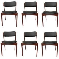 1960s Erik Buch Set of Six Model 49 Teak Dining Chairs for Odense Maskinsnedkeri