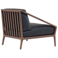 Rive Droite Armchair in Solid American Walnut with Fabric or Leather by Ceccotti
