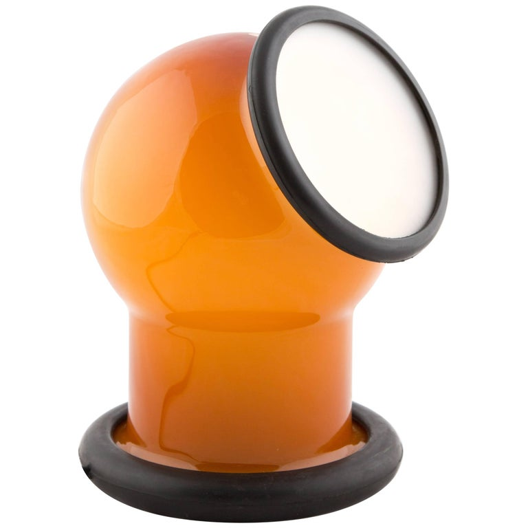 Michael Bang Epoke Table Lamp for Holmegaard with Orange Glass and Rubber