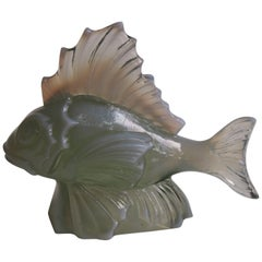 French Art Deco Opal Green Glass Fish Statue by CLA