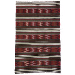 Vintage Turkish Kilim Rug with Tribal Style, Flat-Weave Kilim Rug