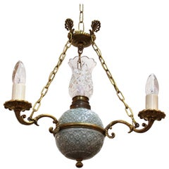 Victorian Minton Porcelain, Crystal and Brass Chandelier