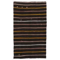 Vintage Turkish Kilim Rug, Flat-Weave Striped Kilim Area Rug with Tribal Style