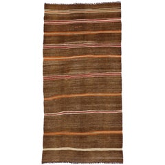 Vintage Turkish Striped Kilim Rug with Tribal Style, Flat-Weave Rug