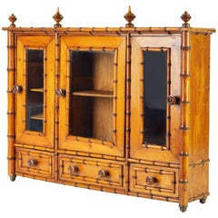 19th Century English Miniature Chinoiserie Style Bamboo Armoire or Table Cabinet