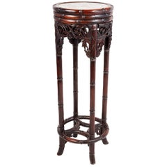 19th Century Chinese Hardwood Stand with Rose Medallion Plaque