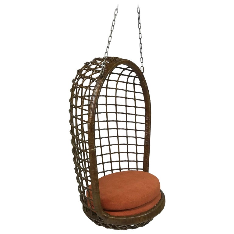 Mid Century Woven Rattan Hanging Egg Chair For