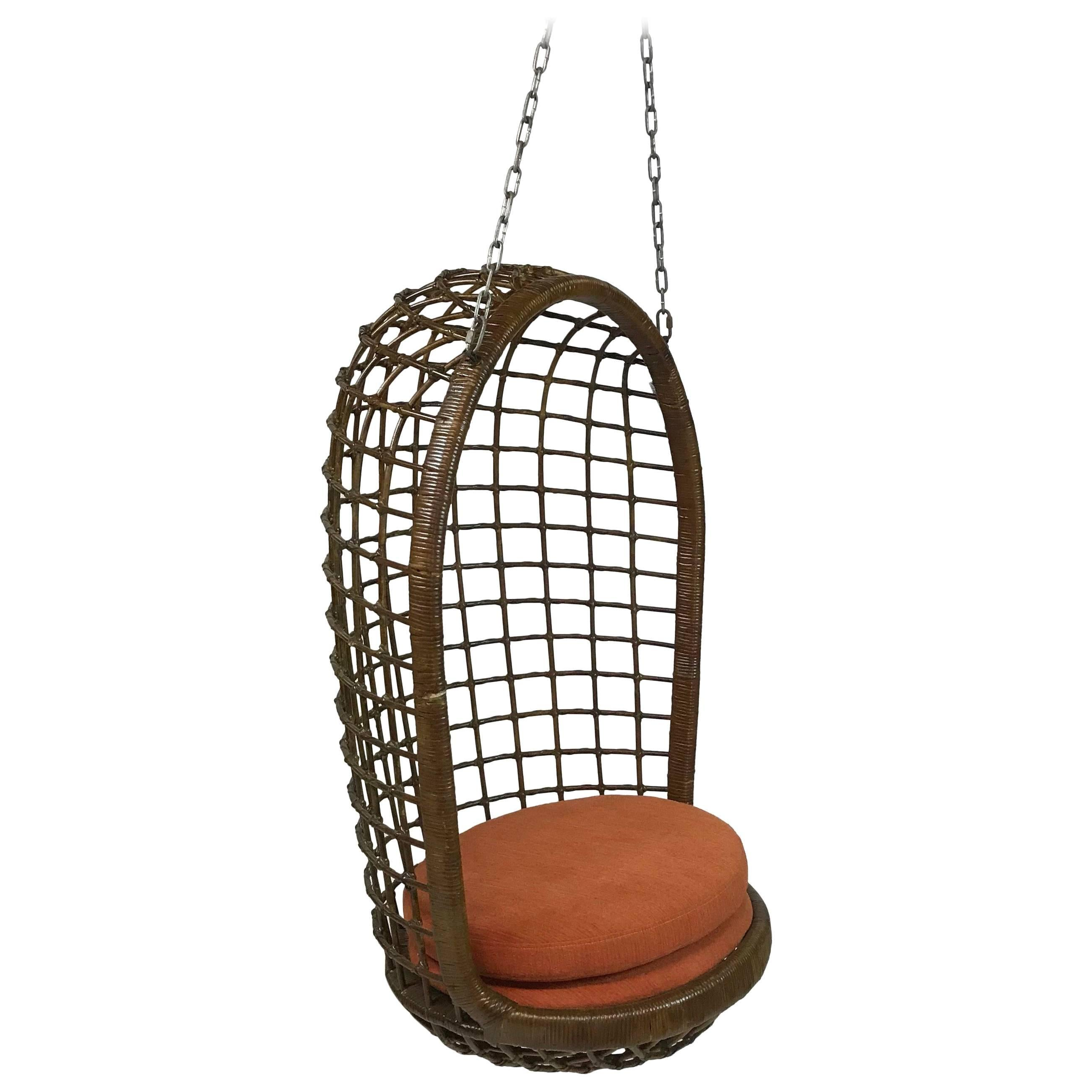 MId Century Woven Rattan Hanging Egg Chair For Sale