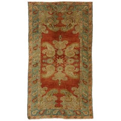 Vintage Turkish Oushak Accent Rug with All over Boteh Motif