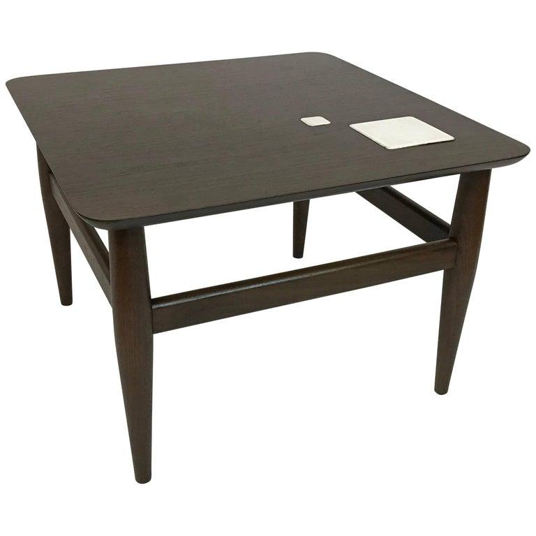 Mid-Century Modern Ebonized Walnut Tile Inlay Coffee Table
