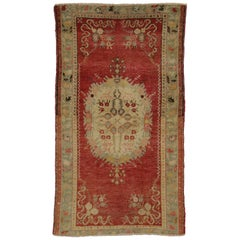Vintage Turkish Oushak Accent Rug with Classic Medallion and Corner Motif