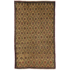 Vintage Oushak Area Rug with Floral Lattice Motif