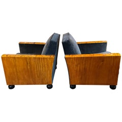 Pair of Art Deco Burl Wood Lounge Chairs