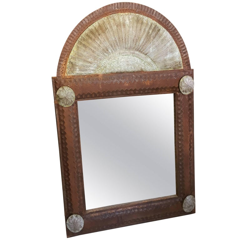 Large Tin Spanish Colonial Style Mirror