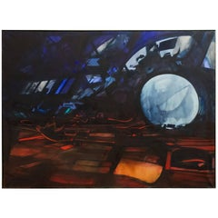 John Hultberg 'World Turned to Coal' Abstract Landscape Painting