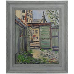"J Johansson ""Stockholm Bastucat 7"" Oil on Canvas, 1952"