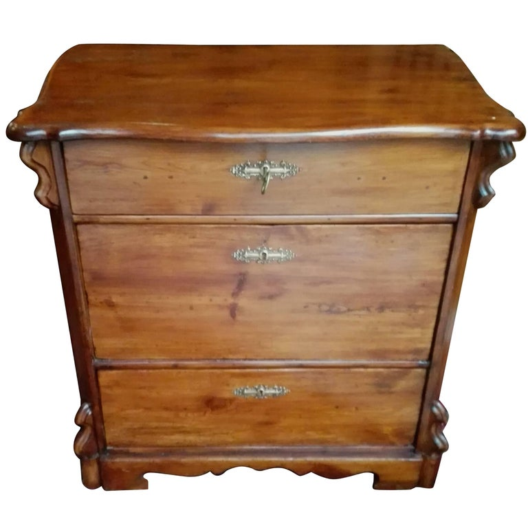 19th Century Louis Philippe Pinewood Chest of Drawers Restored Schellack Patina