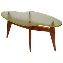 French Free-Form Coffee or Side Table with Glass Top, 1950s