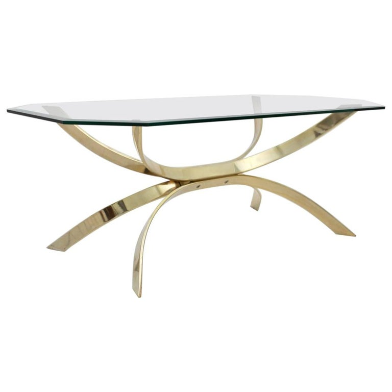 Brass Coffee Table with a Clear Glass Top, 1970s