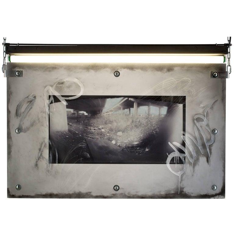"Karen Brown ""Board"" Urban Art Pinhole Photo Transparency and Lucite"