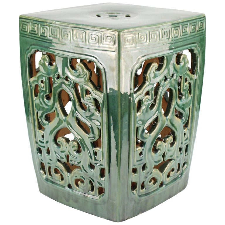 Asian Style Green Ceramic Garden Seat For Sale