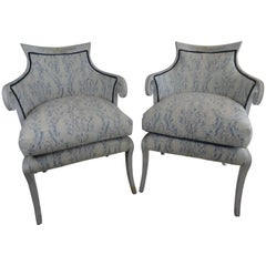 Pair of English Regency Style Fortuny Chairs