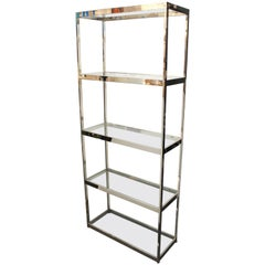 Mid-Century Modern Chrome and Glass Etagere in Style of Milo Baughman