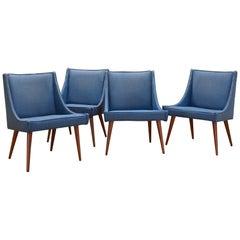 Early 1950s Milo Baughman for Thayer Coggin Slipper Chairs in Original Fabric