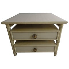 McGuire Two-Drawer End or Bedside Table