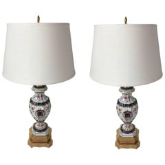 Pair of Samson Armorial Urns, Now as Lamps