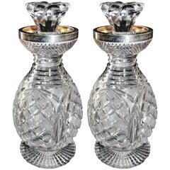 Pair of Cut Crystal and Sterling Silver Decanters, 1900, Birmingham England