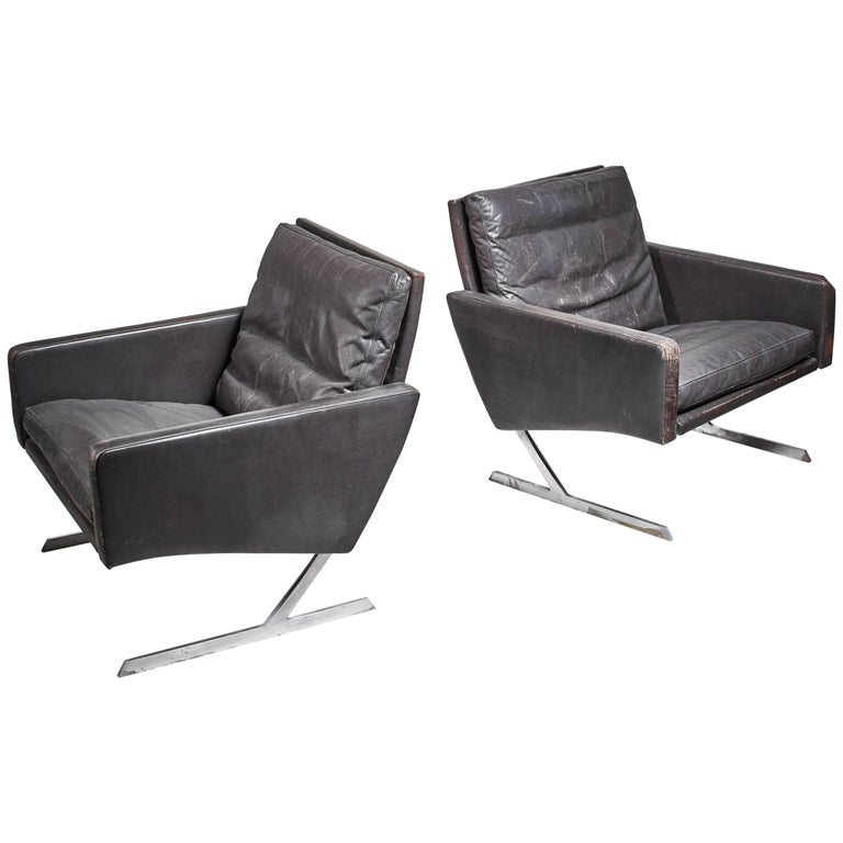 Preben Fabricius Pair of BO 701 Chairs in Dark Brown Leather, Germany, 1970 For Sale
