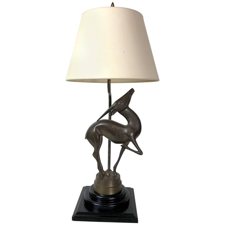 Art Deco Bronze Sculpture of a Deer, Now as a Lamp
