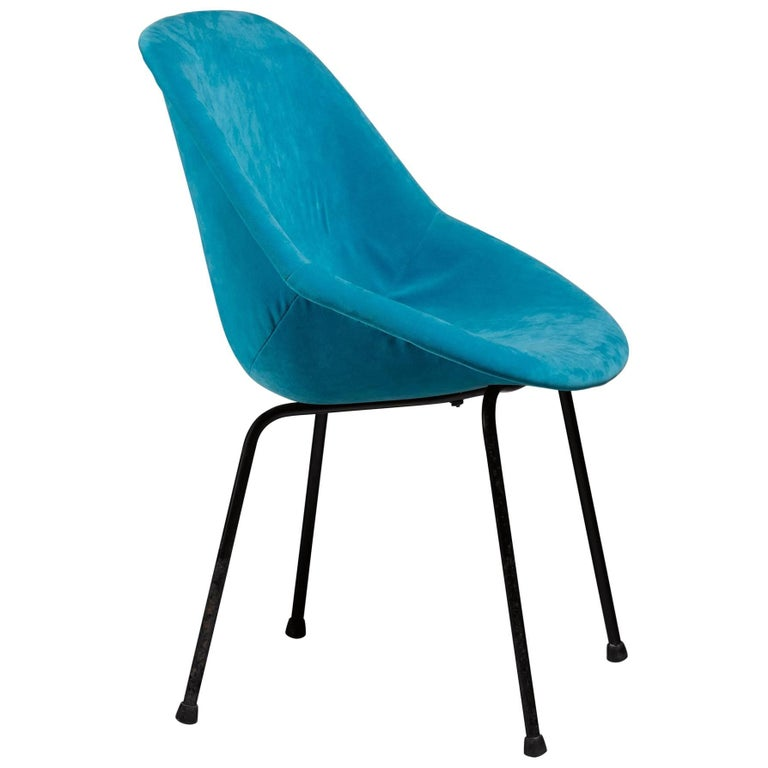 Genevieve Dangles Blue Chair for Burov, France, 1950s For Sale