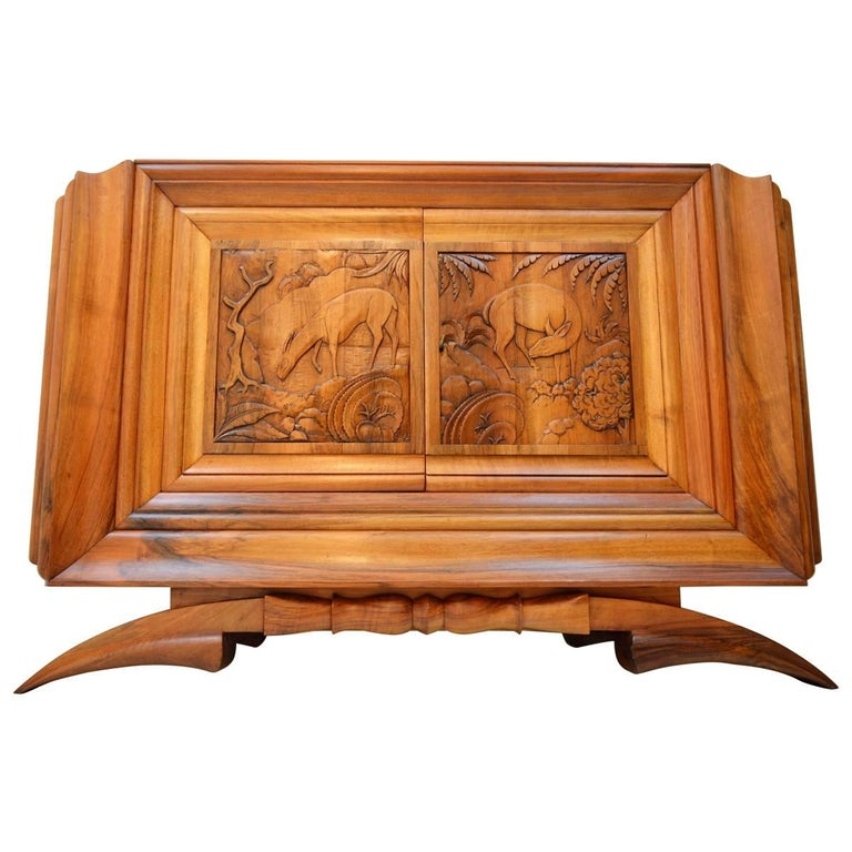 Walnut Cabinet by Dominique, Exhibited at the Exposition Coloniale, Paris, 1931