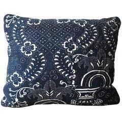Antique French circa 1800 Indigo Resist Blockprinted Cotton Pillow