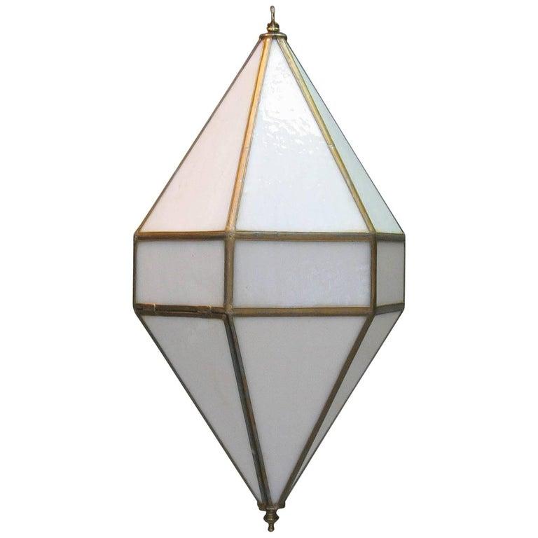 Diamond Shaped Hexagonal Milk Glass Pendant Light, Spain, 1960