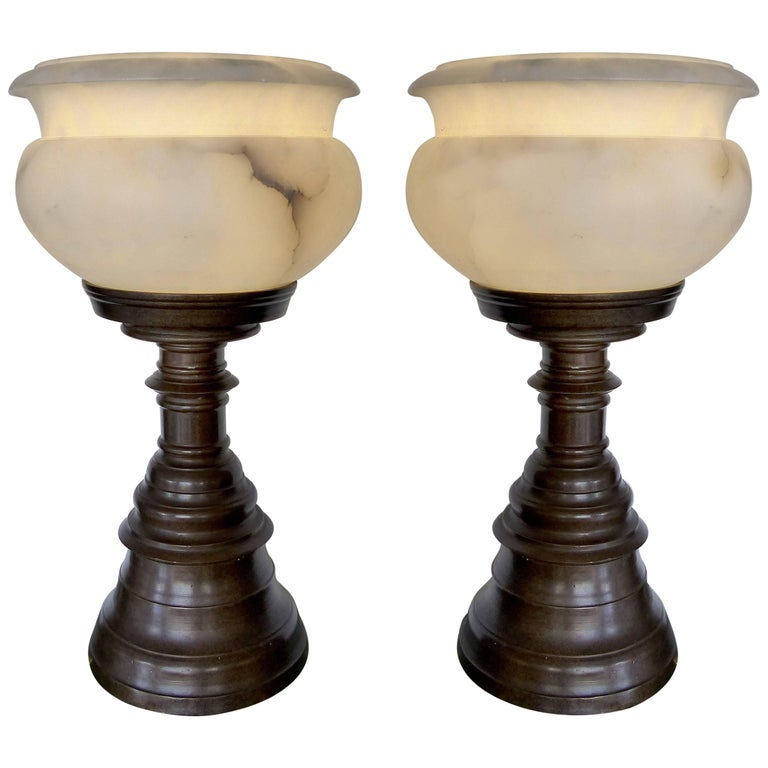 Pair of Monumental Bronze and Alabaster Urn Lamps