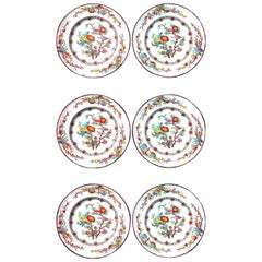Antique English Wedgwood Set of Six Pearlware Botanical Plates, circa 1870