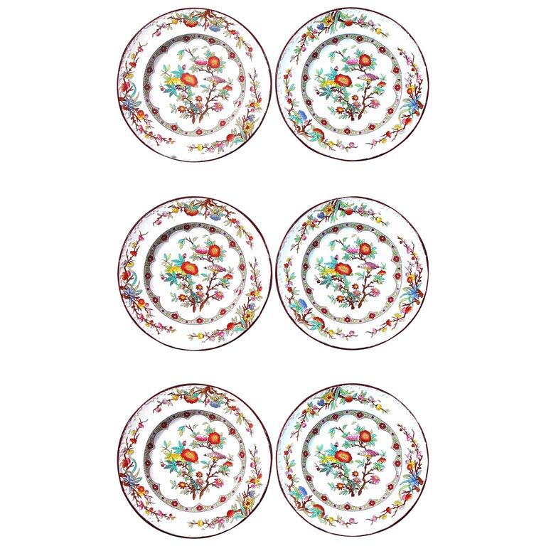 Wedgwood Set of Six Pearlware Botanical Plates, circa 1870 For Sale
