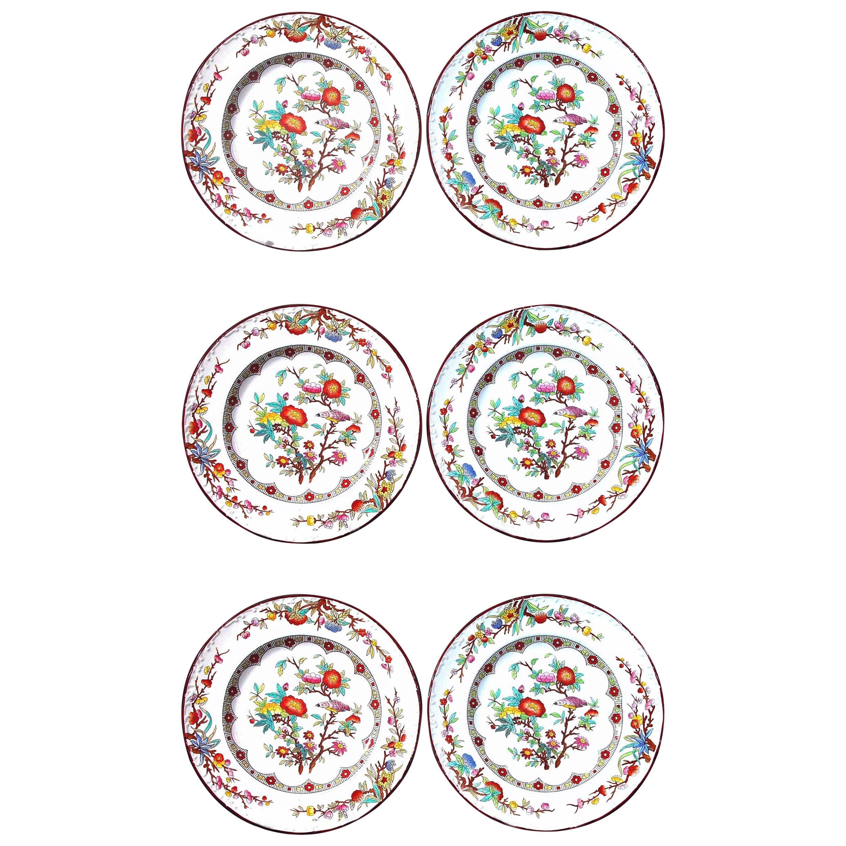 Wedgwood Set of Six Pearlware Botanical Plates, circa 1870