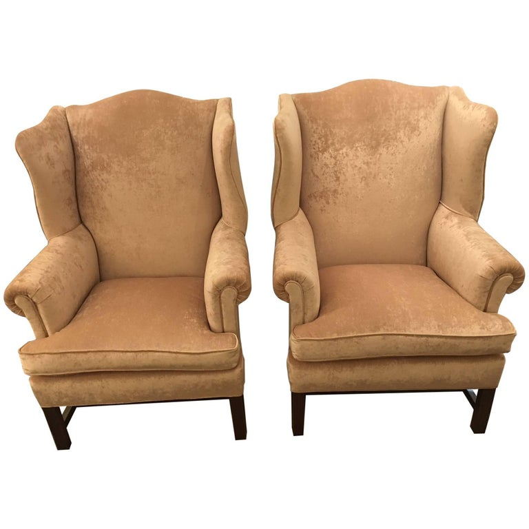 Pair of Hancock and Moore Blush Velvet Wing Chairs