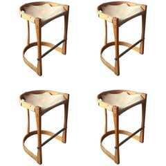 Set of Four American Studio Craft Counter Stools