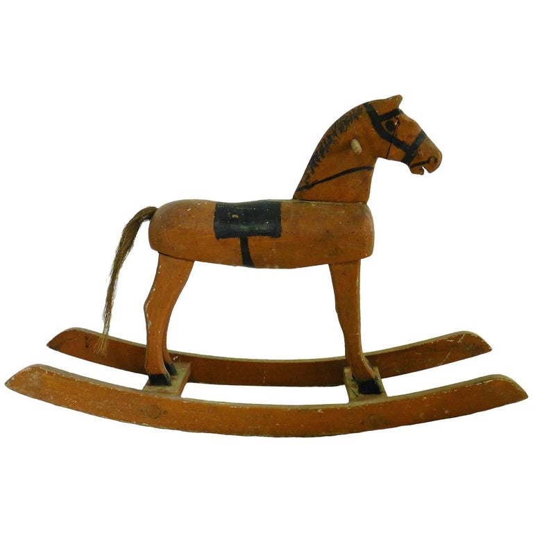 Folk Art Rocking Horse French Primitive Naive Hand-Painted Toy, circa 1900